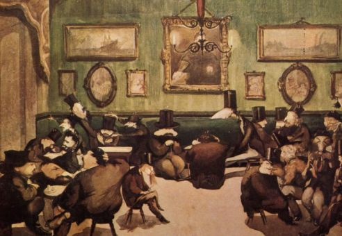 Caffè Michelangiolo, a Firenze, dipinto da Cecioni, il caffè degli artisti per eccellenza.